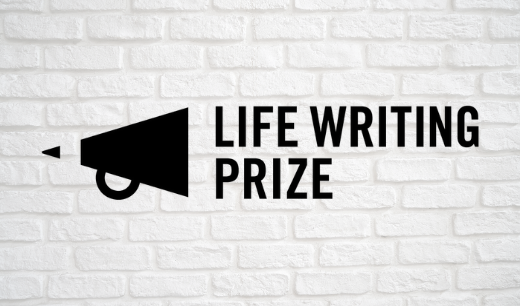 a black megaphone next to the words Life Writing Prize