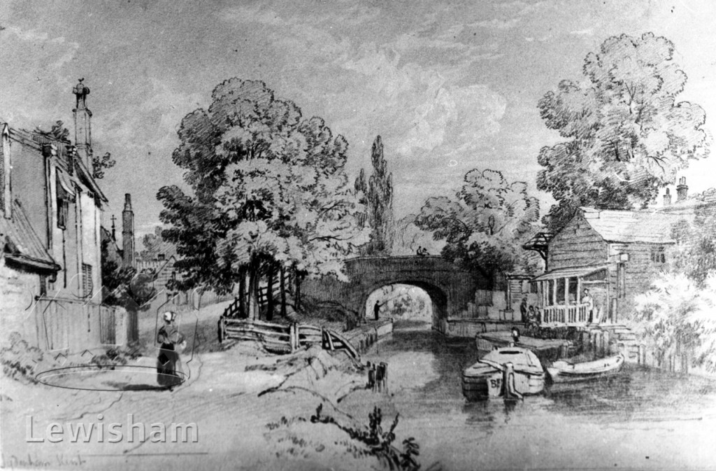 Sydenham Bridge from the north, a black and white image from 1836
