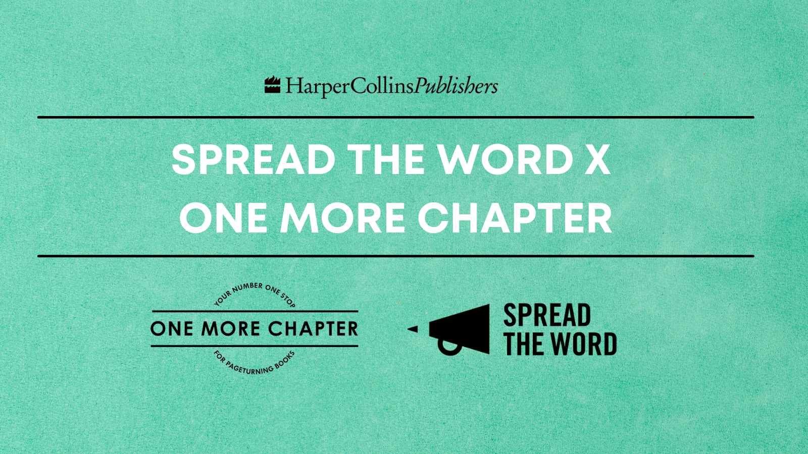 Spread the Word and One More Chapter logos on a mint green background
