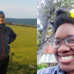 a composite of two images: one, a person standing with their hands on their hips in a field, the other - a person wearing a flower in their hair, wearing glasses with a huge smile